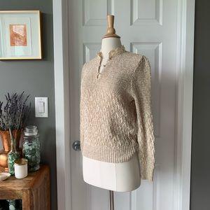 Vintage open crochet puff sleeve sweater 1898